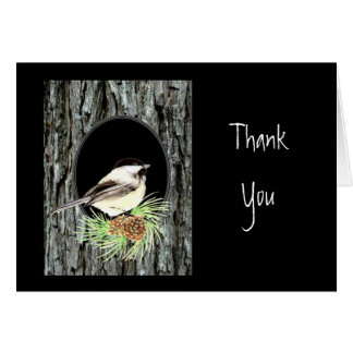 Tarjeta Gracias, escritura, 1:16 de Juan, Chickadee,