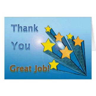 Tarjeta Gracias gran Shooting Stars del trabajo
