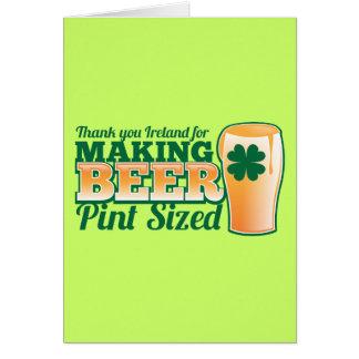 Tarjeta Gracias Irlanda por hacer la pinta de la cerveza