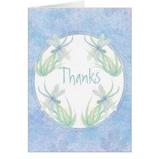 Tarjeta Gracias libélula original de la acuarela en azul
