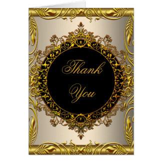 Tarjeta Gracias negro beige poner crema elegante del oro