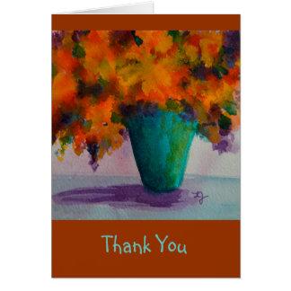Tarjeta Gracias Notecard con las flores en florero