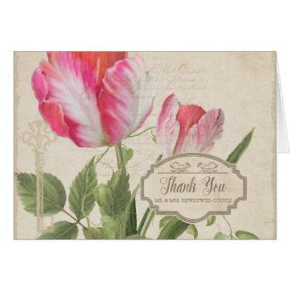 Tarjeta Gracias observa arte botánico del tulipán del loro