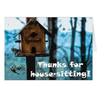 Tarjeta Gracias por casa-sentarse