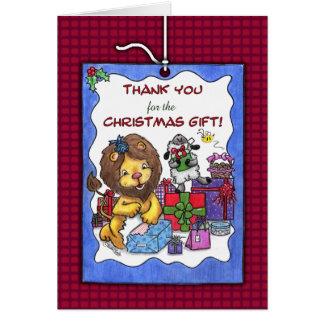 Tarjeta Gracias por el navidad Regalo-León y cordero