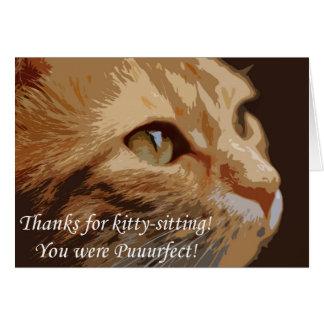 Tarjeta Gracias por gatito-sentarse