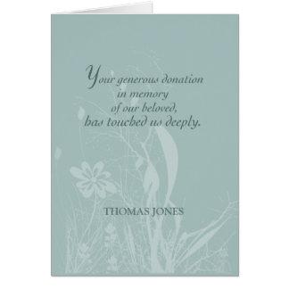 Tarjeta Gracias por la donación en memoria, flor orgánica