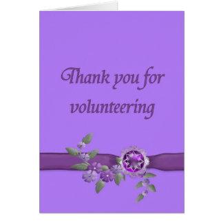 Tarjeta Gracias por ofrecerse voluntariamente, púrpura