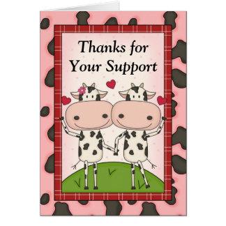 Tarjeta Gracias por su ayuda - vacas