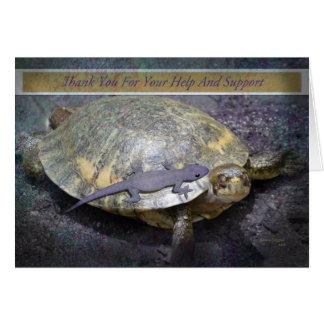 Tarjeta Gracias por su ayuda y apoye - el Gecko de la