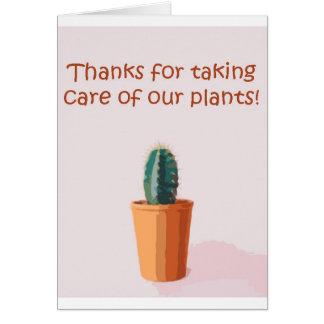 Tarjeta Gracias por tomar el cuidado de nuestras plantas