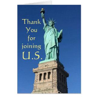 Tarjeta Gracias por unirse a los E.E.U.U. Nuevos saludos C
