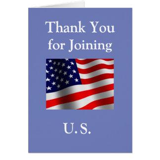 """Tarjeta """"Gracias por unirse a nuevo ciudadano americano de"""