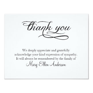 Tarjeta Gracias que el entierro le agradece behreavement