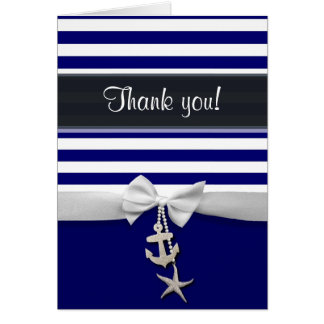 Tarjeta Gracias raya náutica azul y falsa cinta blanca