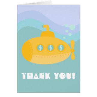 Tarjeta Gracias - submarino submarino amarillo adorable