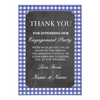 Tarjeta Gracias tiza azul del boda del control de las