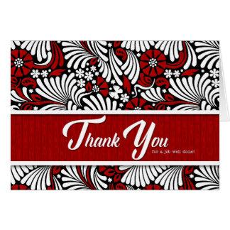 Tarjeta Gracias trabajo hecho bien - blanco y negro rojos