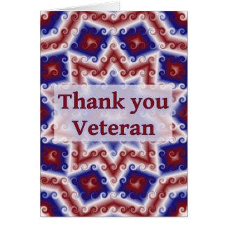 Tarjeta Gracias veterano, extracto azul blanco rojo