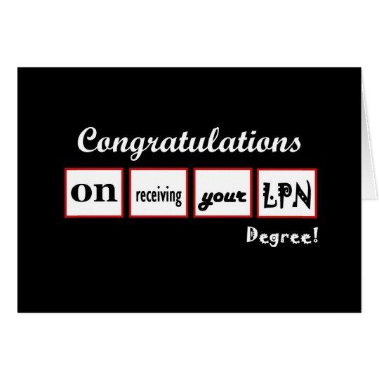 Tarjeta Grado de LPN - enhorabuena CONOCIDA DE ENCARGO -
