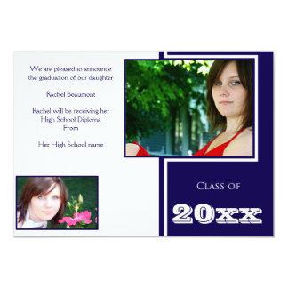 Tarjeta Graduación blanca y azul moderna