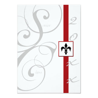 Tarjeta Graduación blanca y roja de la cinta de voluta