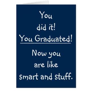 Tarjeta Graduación divertida de la cita de la enhorabuena