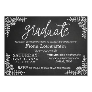 Tarjeta Graduación floral de la casa abierta de la