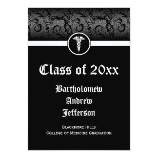Tarjeta graduación negra/blanca de 5x7 del caduceo de la