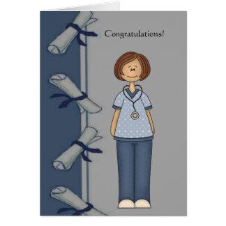 Tarjeta Graduado de la enfermera de la enhorabuena