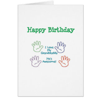 Tarjeta Granddaddy del feliz cumpleaños - manos