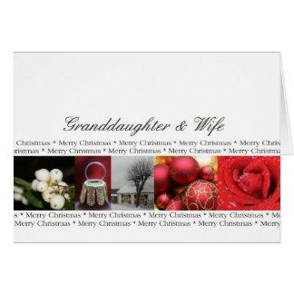 Tarjeta Granddaugher y collage de las Felices Navidad de