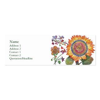 Tarjeta grande del perfil de la flor de la sol tarjetas de visita mini