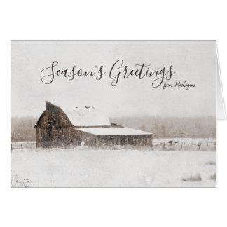 Tarjeta Granero de Michigan del invierno de los saludos de