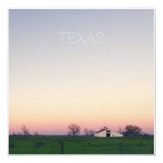 Tarjeta Granero de Tejas en la puesta del sol