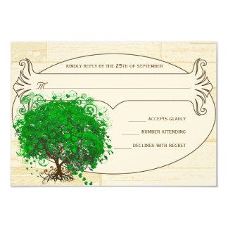 Tarjeta Granero esmeralda RSVP que se casa de madera del