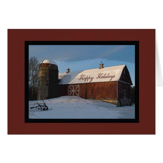 Tarjeta Granero rojo nevado y navidad del negocio de Silo