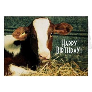 Tarjeta Granjero del feliz cumpleaños - Brown y becerro