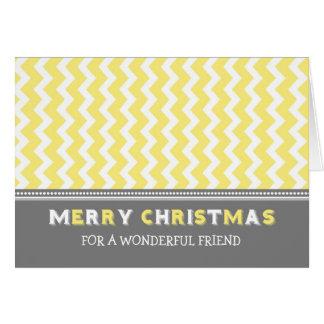 Tarjeta gris amarilla de las Felices Navidad del a