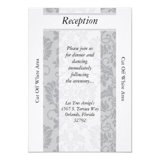 tarjeta gris de la recepción nupcial del damasco invitación 12,7 x 17,8 cm