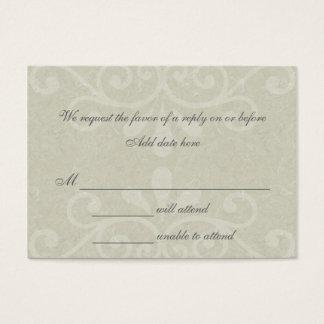 Tarjeta gris de la respuesta del boda de la voluta