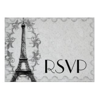 Tarjeta gris de RSVP del Grunge de París Comunicados Personales