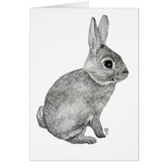 Tarjeta gris del conejito