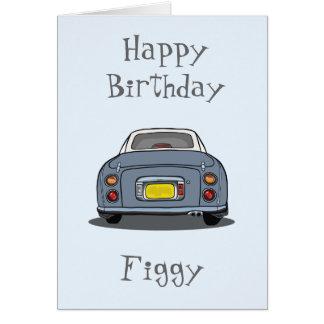 Tarjeta gris del feliz cumpleaños del coche de