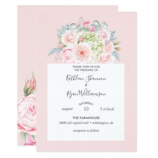 Tarjeta Gris floral elegante de los rosas del vintage