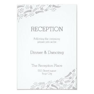 Tarjeta gris moderna de la recepción del follaje invitación 8,9 x 12,7 cm