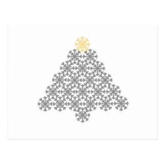 Tarjeta gris moderna del árbol de navidad del copo postal