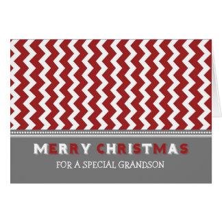 Tarjeta gris roja de las Felices Navidad del nieto