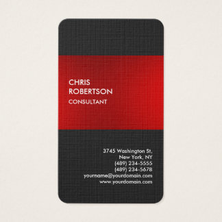 Tarjeta gris roja elegante de lino del perfil