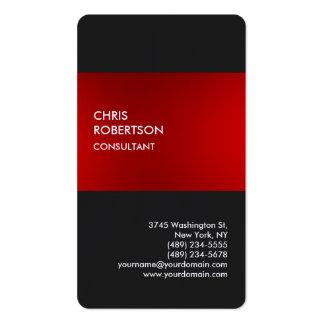Tarjeta gris roja elegante de lino del perfil tarjetas de visita